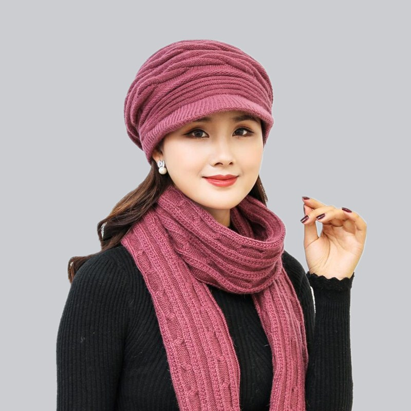 oZyc Women Winter Hat scarf Female Warm Skullies Beanies Texture Fur  Knitted Hats For Woman Ladies Winter Rabbit Fur Hat Cap fed8a19e628