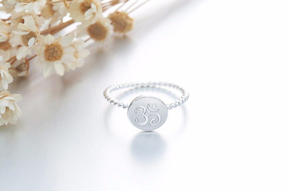 Bague torsadée métal argenté, symbole OM AUM OHM, yoga bijou tendance zen