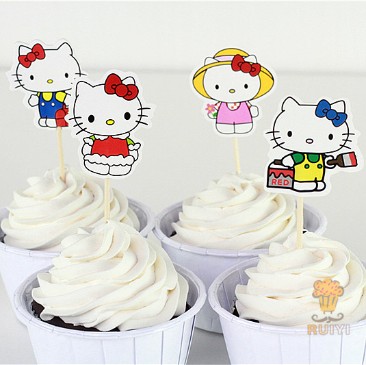 24 Pcs Hello Kitty Cup Cake Topper Pick Snow Queen Elsa Anna Olaf Food Picks Birthday Party Decoration AW 0414 In Decorating Supplies From Home