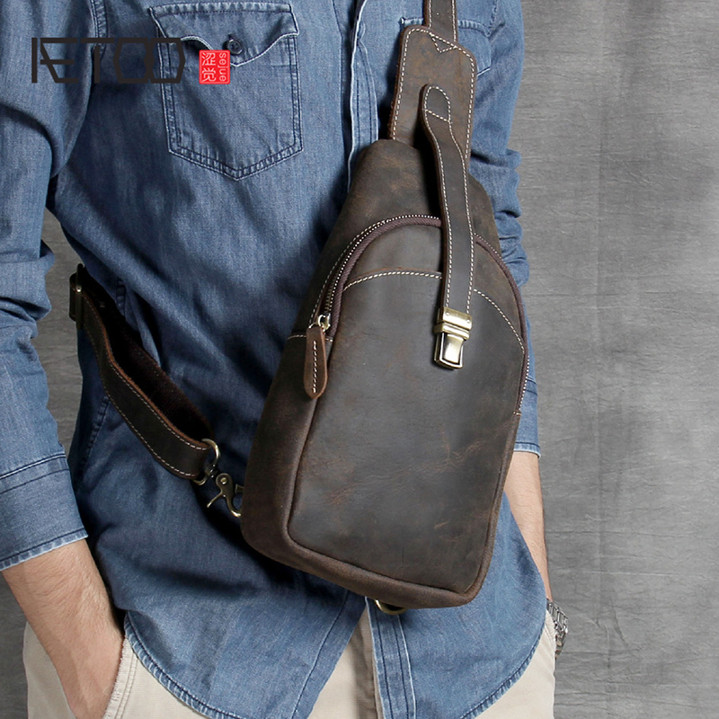 AETOO Leather casual chest bag male head layer cowhide retro mad Horse leather shoulder crossbody bagAETOO Leather casual chest bag male head layer cowhide retro mad Horse leather shoulder crossbody bag