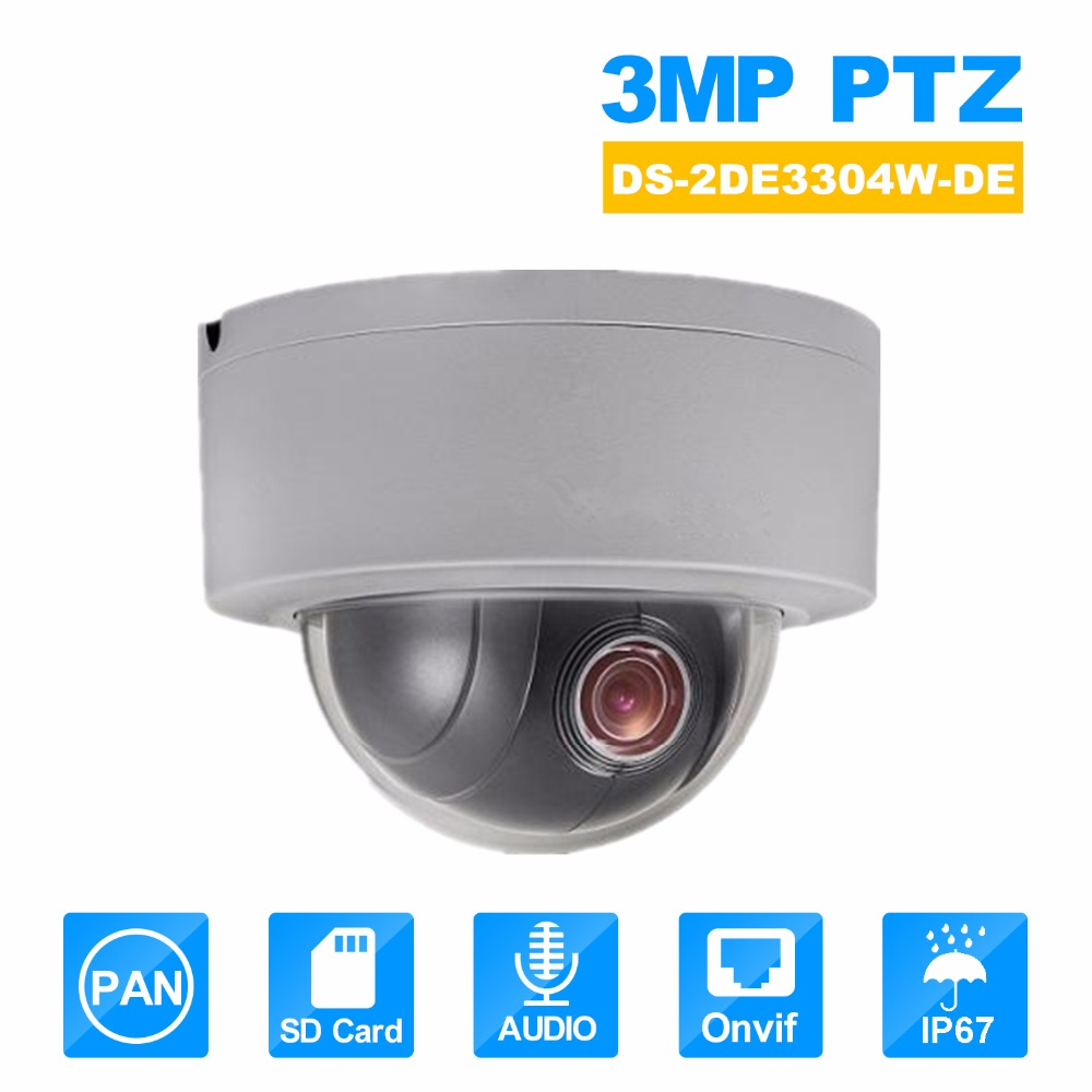 Hikvision PTZ IP Camera DS 2DE3304W DE 3MP Network Mini Dome Camera 4X Optical Zoom Support