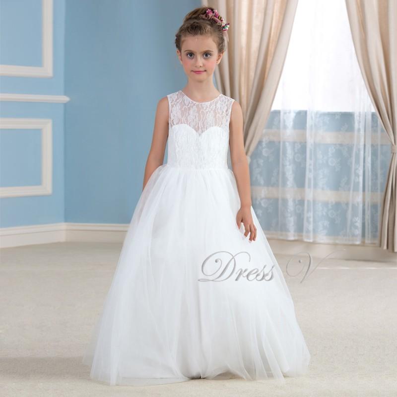 3d1cf5b12 Ball Gown White Lace Flower Girl Dresses Floor Length Ivory First ...