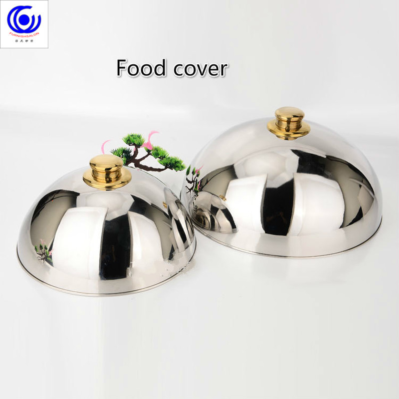 Luxury 304 stainless steel plate lid high-grade food cover teppanyaki Western dome with Golden top two size big or smallLuxury 304 stainless steel plate lid high-grade food cover teppanyaki Western dome with Golden top two size big or small