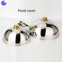 Luxury 304 stainless steel plate lid high-grade food cover teppanyaki Western dome with Golden top two size big or small