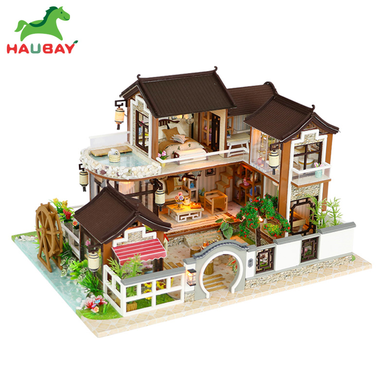 BAUBAY Doll House Furniture Diy Miniature Dust Cover 3D Wooden Miniaturas Dollhouse Toys for Children Birthday Gifts все цены
