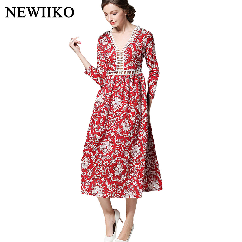 Women Casual V Neck Hollow Out Dress Sexy Large Size Beam