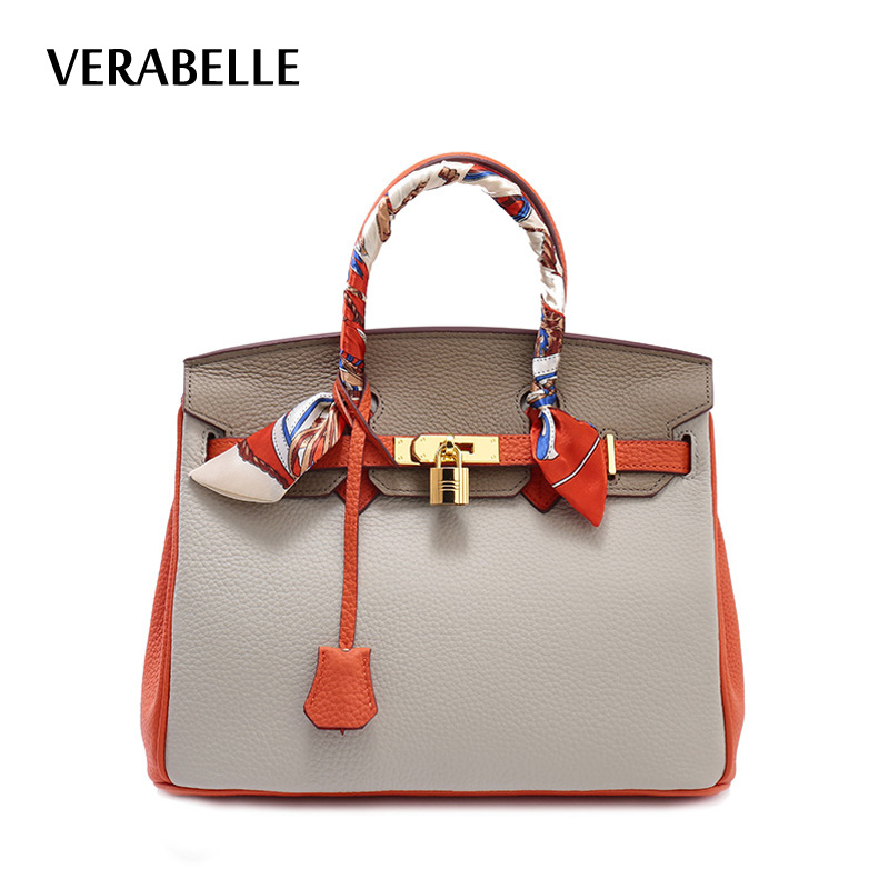 VERABELLE 2018 new 100% genuine leather women totes handbag luxury designer full grain OL business female ribbons shoulder bag 2017 new casual snake pattern genuine leather women handbag serpentine fashion shoulder bag luxury brand designer female totes