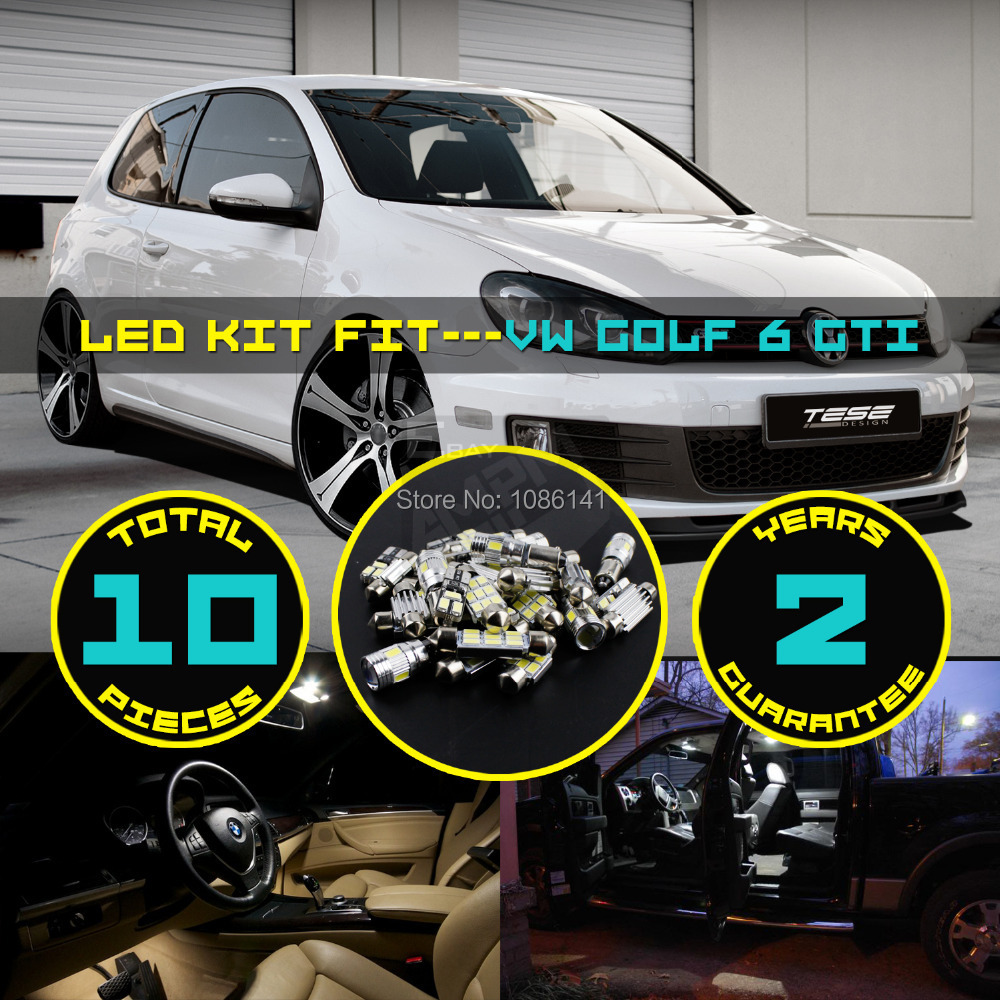 10x 5630 5730 LED Canbus Dome Map License plate Light Glove Box Cargo Area Interior Kit Fit for VW Golf 6 GTI White #108