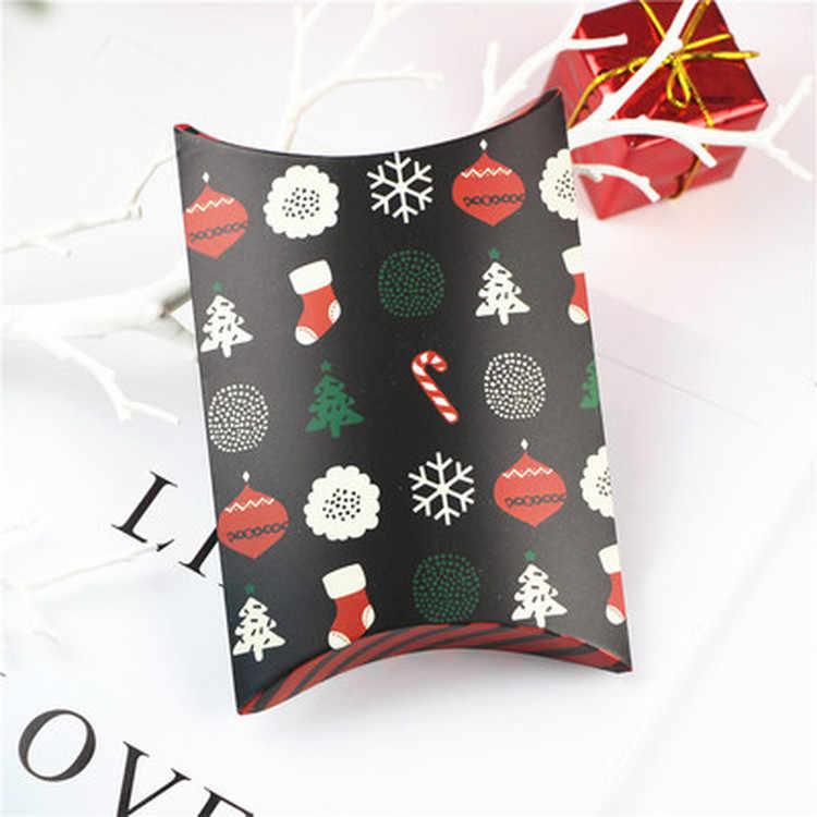2019 weihnachten Geschenk Box Grün Kissen Form Glücklich Weihnachten Candy Box Tasche Rot Farbe Papier Cookies Boxen Weihnachten Geschenk Tasche
