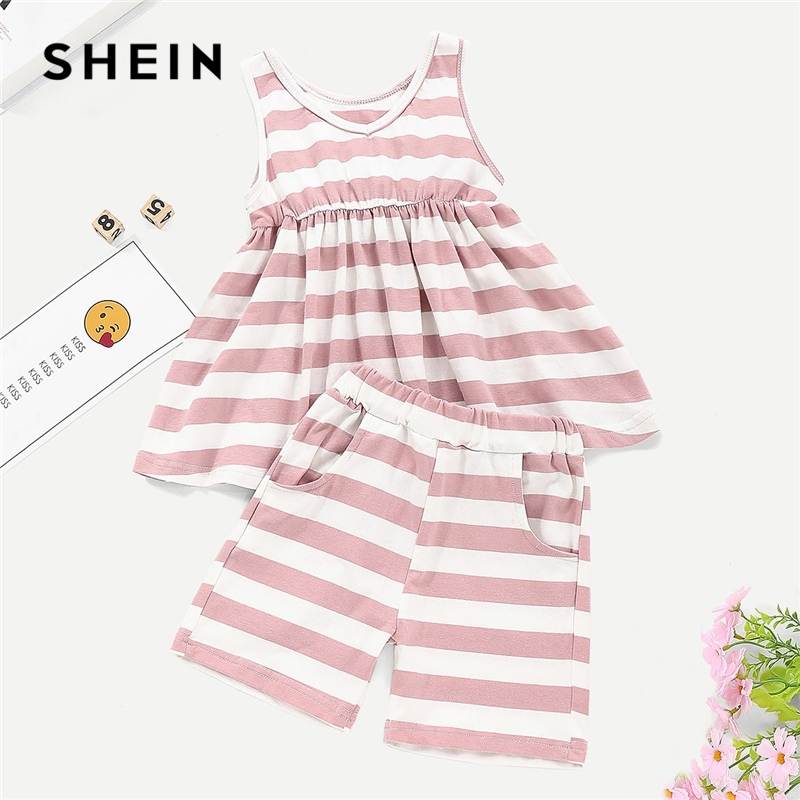SHEIN Kiddie Bow Back Striped Dress With Shorts Casual Toddler Girls Clothing 2019 Sleeveless Cute Kids Clothes Girls Outfits girls tie neck polka dot dress