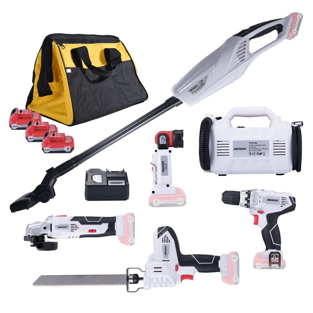 KEINSO 12 Volt Lithium Ion Cordless Power Combo Kit Power Tool Combination 6 Tool Combo Kit 2.0Ah Battery With Bag-in Power Tool Sets from Tools    1