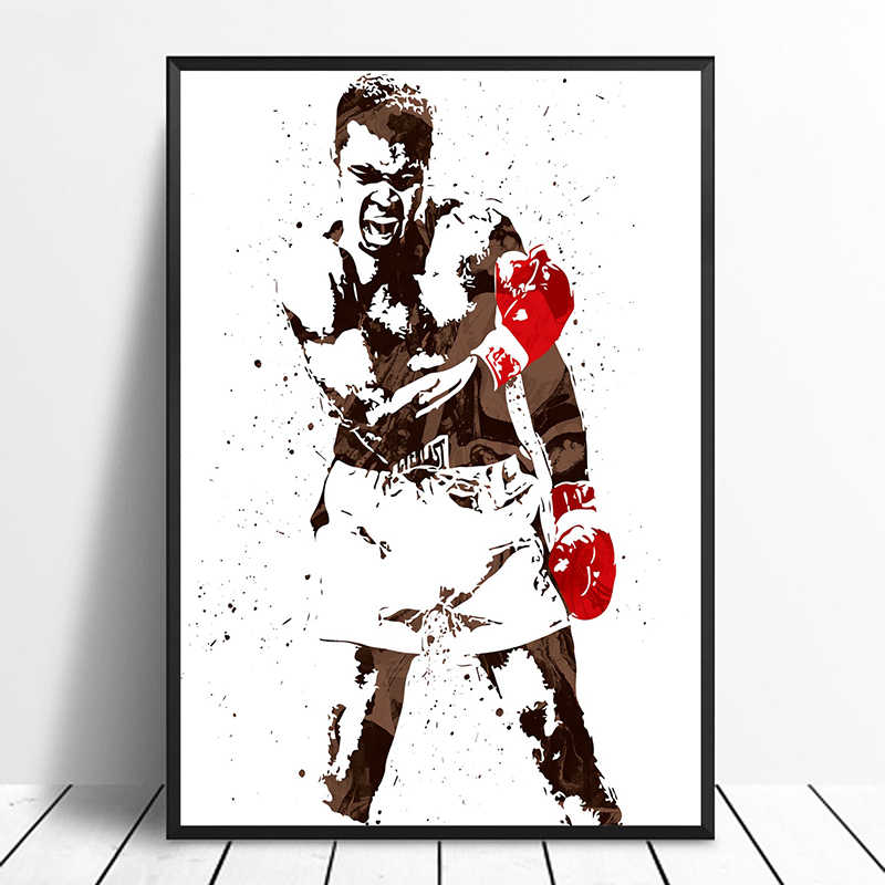 MUHAMMAD ALI  KNOCKOUT BOXING PICTURE PRINT ON CANVAS WALL ART HOME DECORATION