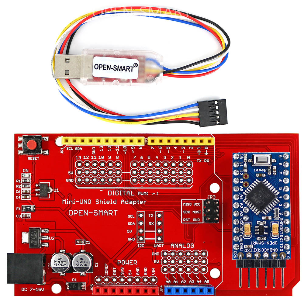 Pro Mini ATmega328P Board + Pro Mini UNO Shield Adapter + CH340G USB To TTL Programmer Easy To Upload Sketch To Arduino Pro Mini