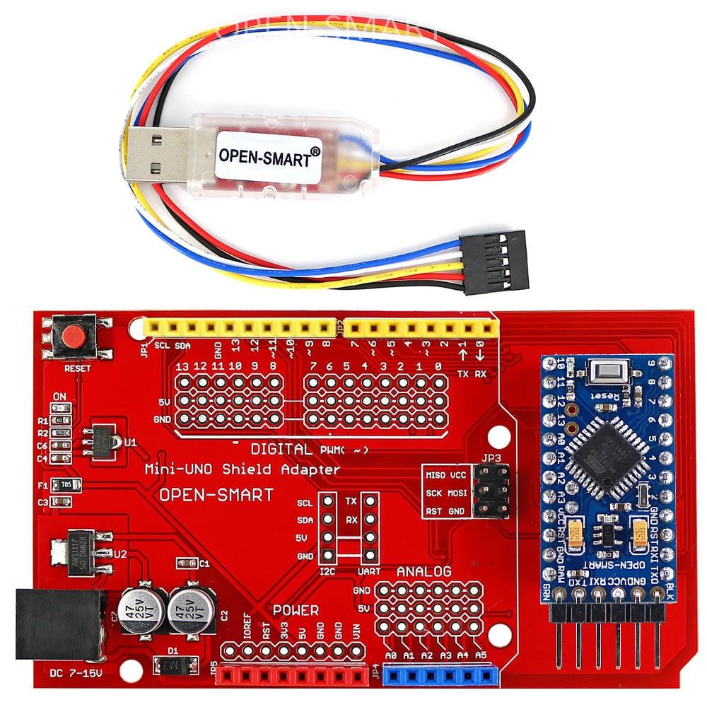 Плата Pro Mini ATmega328P + защитный адаптер Pro Mini UNO + USB CH340G для TTL программатора, легко загрузить эскиз для Arduino Pro Mini