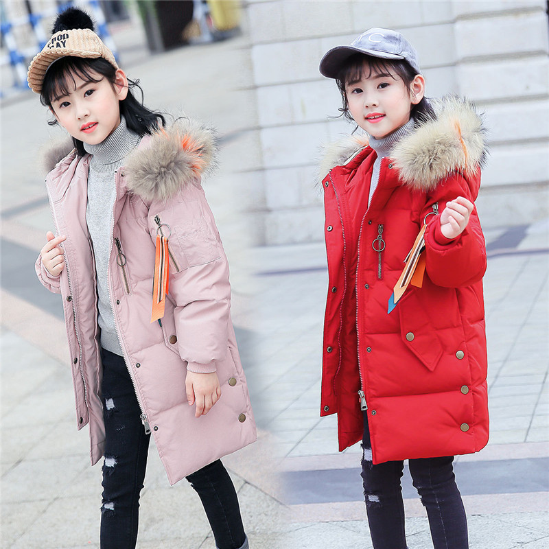 Winter Children's Down Jacket 2018 New Hooded Fur Collar Long Style Clothes Kids Thick Warm Parkas Coats For Girls Clothing цена