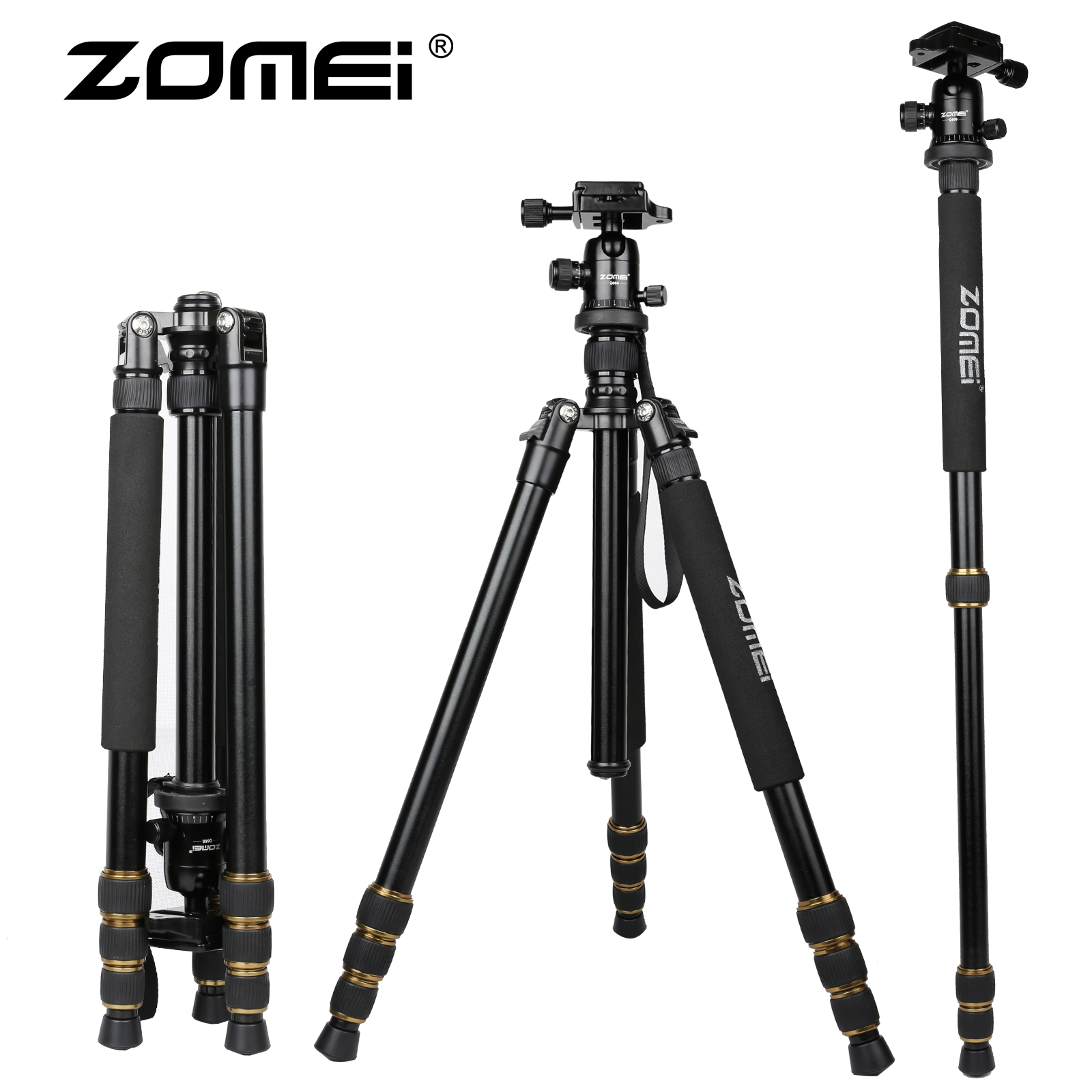 Zomei Q666 Professional Tripod Monopod with Ball Head Compact Travel Tripods Portable Camera Stand for SLR DSLR Digital Camera zomei z888 portable professional aluminium alloy travel tripod monopod z818 for slr dslr digital camera five colors available