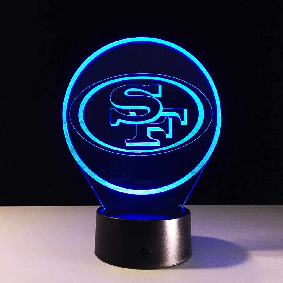 3d San Francisco 49ers Home Decoration Lamp Flash Party Atmosphere Luminarias Touch 7 Colors Changeing Led Illusion Nightlight