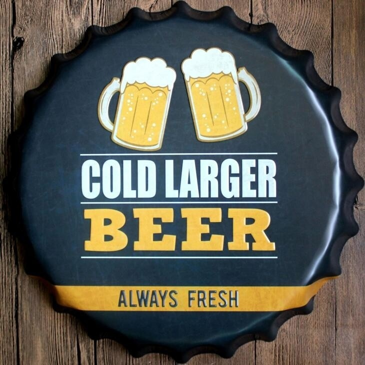 Cold Larger Beer Always Fresh vintage home decoration Chic Beer ...