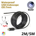 7mm OD 5M 2M Endoscope PC USB Camera IP67 Waterproof inspection Flexible Snake USB Tube Pipe Borescope Camera 6LED