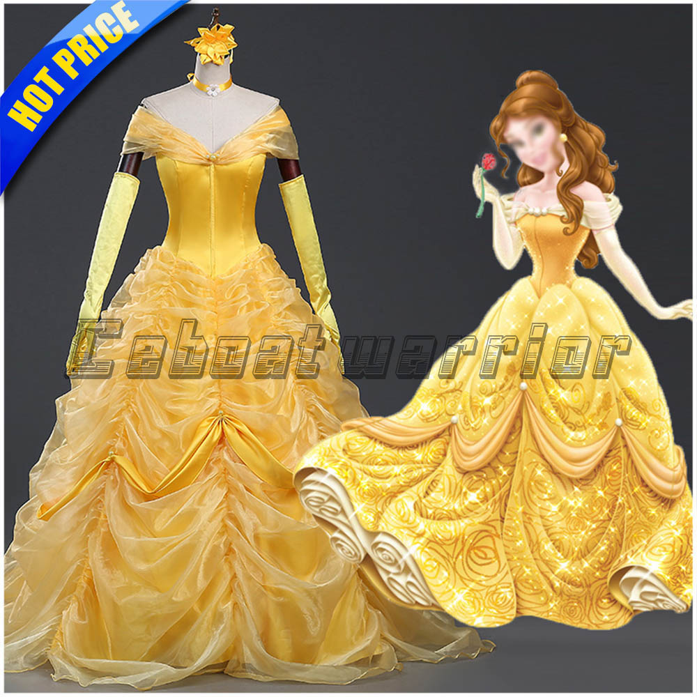 Princess Belle cosplay costume yellow chiffon dress with gloves Movie Beauty and the Beast  Custom made