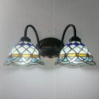 간단한 양방향 벽 램프 티파니 침대 옆 장식 침실 발코니 레스토랑 조명 지중해 예술 거울 전에|mirror plaque|lamp officelamp tube -