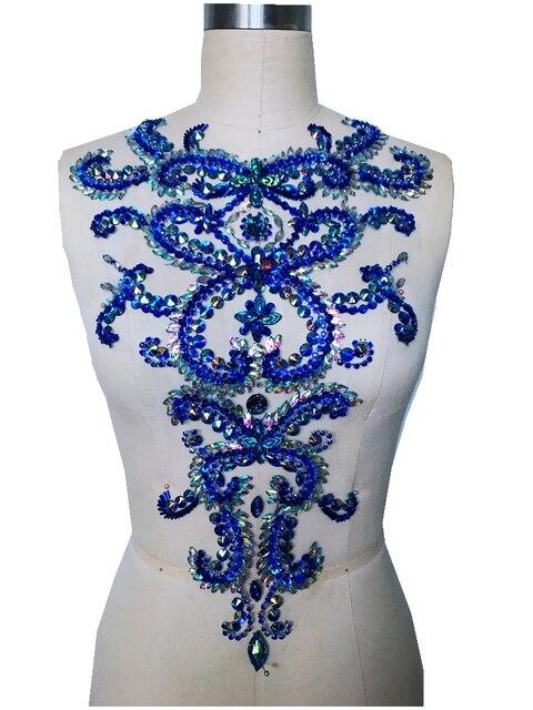Чистый ручной ослепительно пришить стразы аппликация синий/прозрачный AB цвет Кристаллы нашивки 46*30 см платье своими руками аксессуар