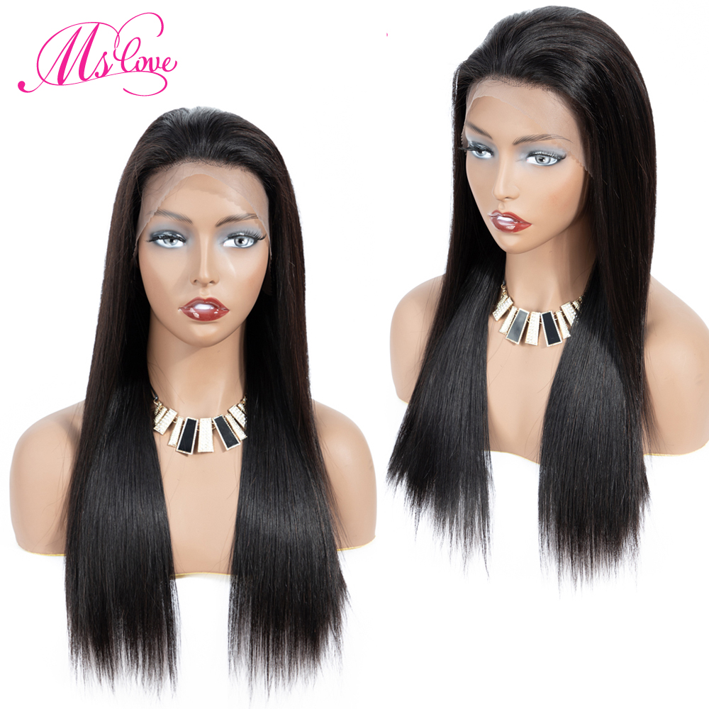 Ms Love 13x4 Lace Front Human Hair Wigs Straight Brazilian Lace Frontal Human Hair Wigs For Black Women 150% Density Non Remy-in Human Hair Lace Wigs from Hair Extensions & Wigs    1