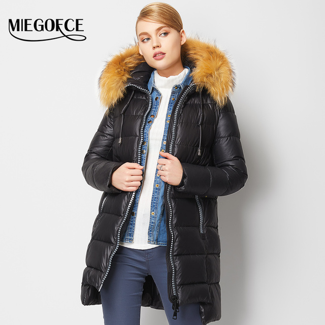 MIEGOFCE New Winter Collection 2016 Winter Women's Warm down Jacket European Tailoring a Collar of Natural Raccoon Fur Coat