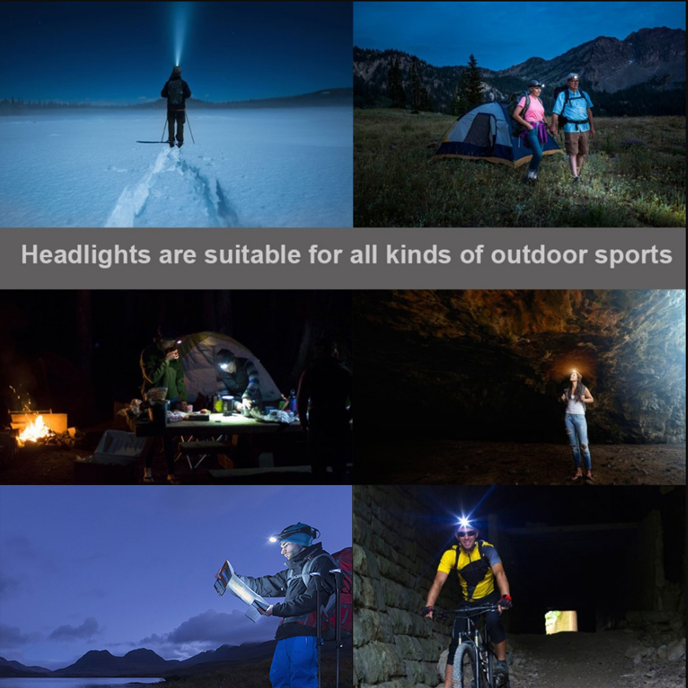 Купить с кэшбэком Super bright LED headlamp 4 x T6 + 2 x COB + 2 x Red LED waterproof led headlight 7 lighting modes with batteries charger