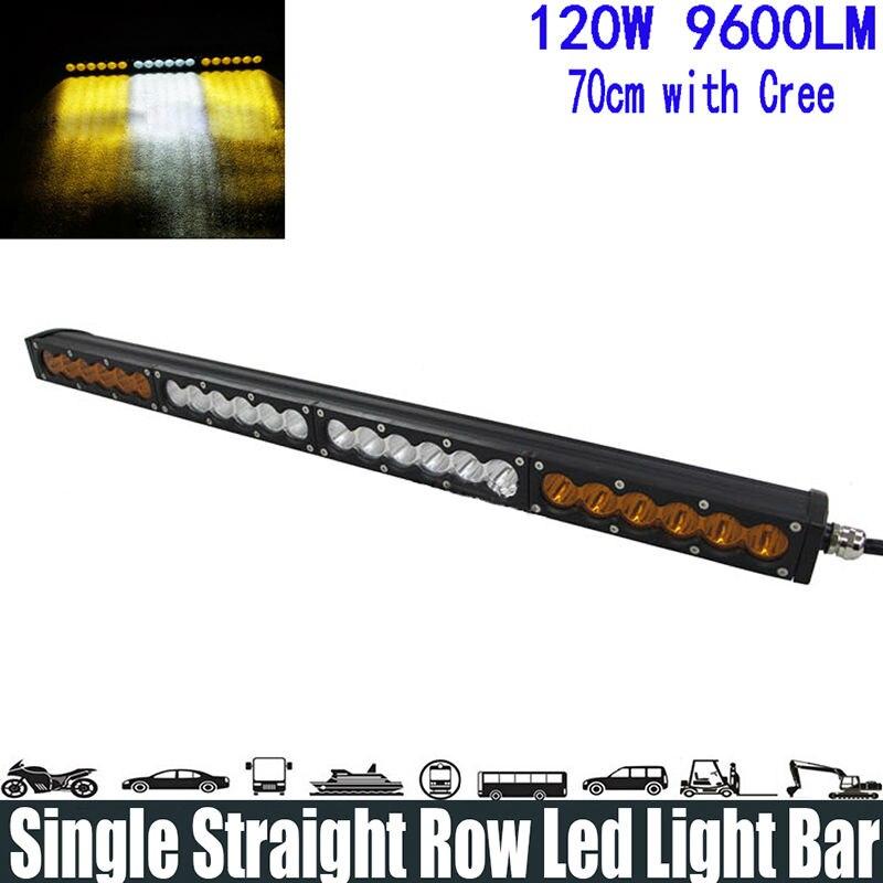 120W 25 White Amber Yellow Single Row Led Light Bar Spot/Flood/Combo Beam Super Bright Led Light Bar Running Light Headlight