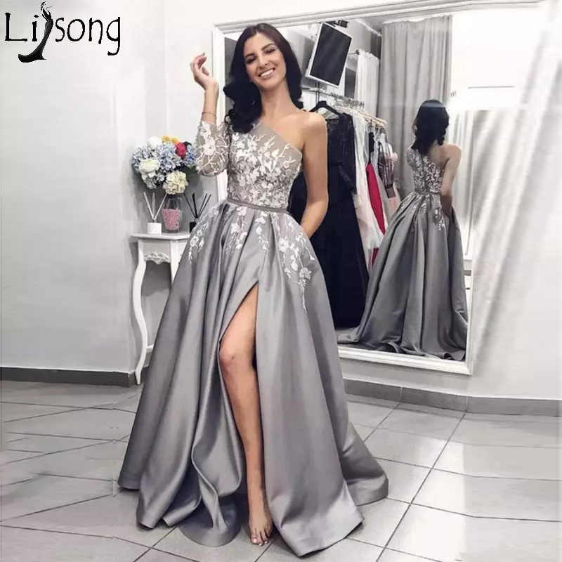 f1121428558 2019 Silver Grey Slit Prom Dresses Single One Long Sleeve Lace Applique  Women Black Girl Party