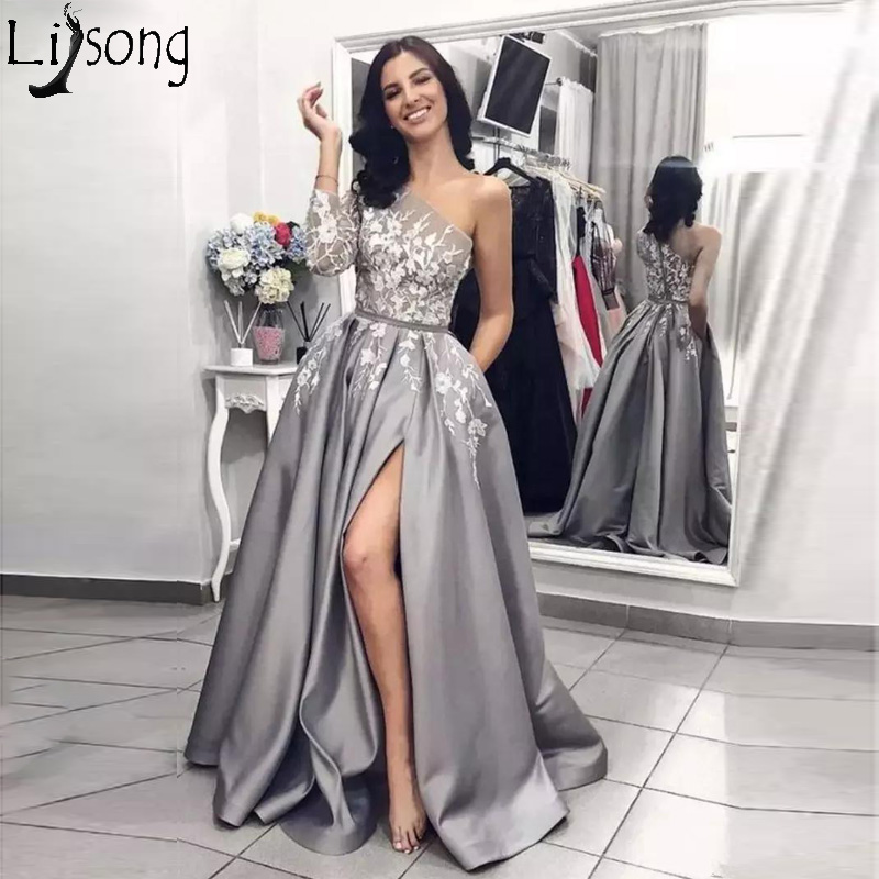 2019 Silver Grey Slit   Prom     Dresses   Single One Long Sleeve Lace Applique Women Black Girl Party Evening Wear Pageant Gowns Custom