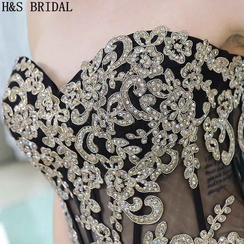 H & S BRIDAL Sweetheart Lace Applique Kralen Avondjurken vestidos de festa Chiffon Backless Avondjurk vestido longo - 5