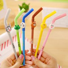 6 Pcs Cartoon Straw Gel Ink Pen Cute Line Friends Brown Bear Doraemon Stationery Office School Supplies Lapices Caneta 2017 New