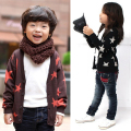 Boys Girls Kids Cotton Long Sleeve Stars Print Knitwear Coat Jacket Tops Outwear