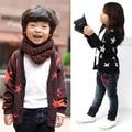 Niños Niños Niñas de Algodón Estampado de Estrellas de Manga Larga Prendas de Punto Tops Chaqueta de La Capa Outwear