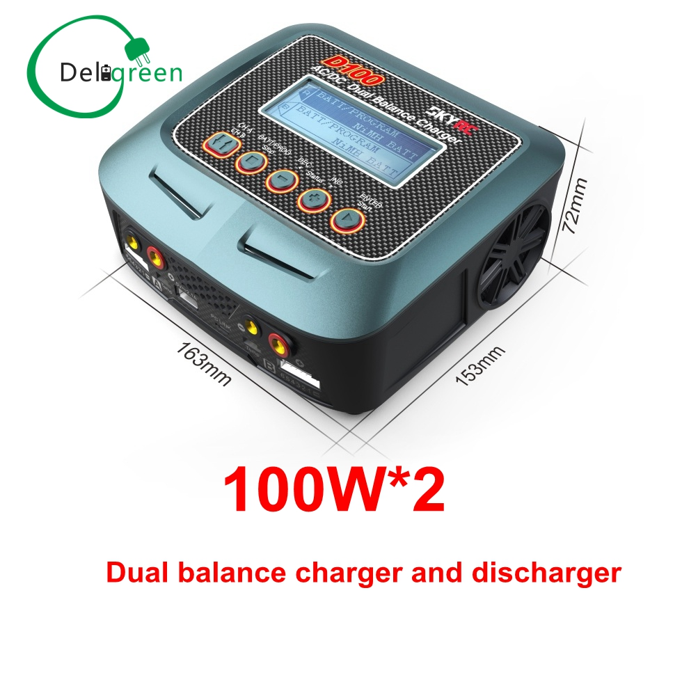 Skyrc D100 V2 Charger Twin-Channel 2x100WAC/DC LiPo 1-6s  Dual with Bluetooth Balance Charger Discharger for Lipo Li-ion Battery skyrc d200 intelligent twin channel lcd ac dc high power dual balance charger discharger with soldering iron