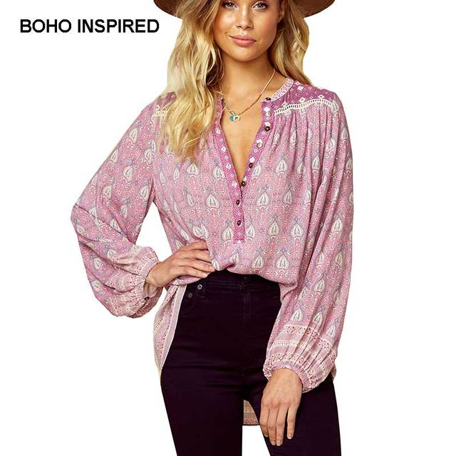 31ea1ac16ceec Boho Inspird Blouse Floral Print rayon buttons front V-neck long sleeve  blouses shirts women
