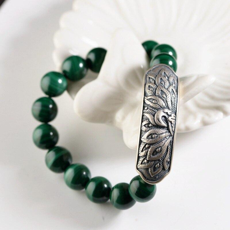 Bracelet de perles Malachite bricolage fait main en argent Sterling 925 pour femmes avec breloque de pivoine phénix Bracelets en pierre naturelle