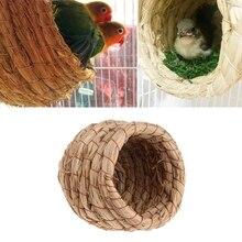 Птичье гнездо соломенное гнездо для домашних животных Птичий Домик гнездо для попугая клетки аксессуары крыса птица хомяк ручной работы разведение гнездо