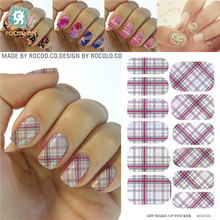 Water Transfer Design Nails Classic Pink White Tartan Stickers Manicure Styling Tools Water Film Paper Decals