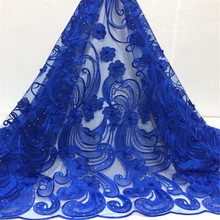 latest african laces nigerian lace fabrics for wedding 2019 embroidered stones and beads royal blue fabric fc1-45