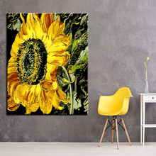 Big Yellow Bloom Sunflowers Flower Picture By Numbers DIY Painting Kits Hand paited On Linen Canvas Modern Decor Wall Artwork