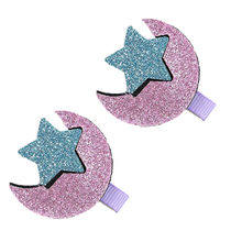 PARRY Infant Girls Hair Clips Baby bling Star Moon Hairpin 2Pcs lovey Toddler Girls Acrylic applique Hair Clip set(China)