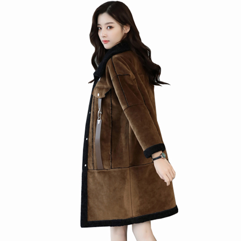 2018 Buckskin   leather   Coat Warm Women plus Wool Coat Women's Winter New Long Jackets High Quality Plus Size thicker parka QH1226