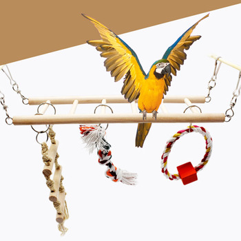 1PCS Suspension Bridge Parrot Climbing Ladder Pet Toys Birds Hamster Squirrel Cage Hanging Bridge Ladder Small pet Toys Chew Toy 1