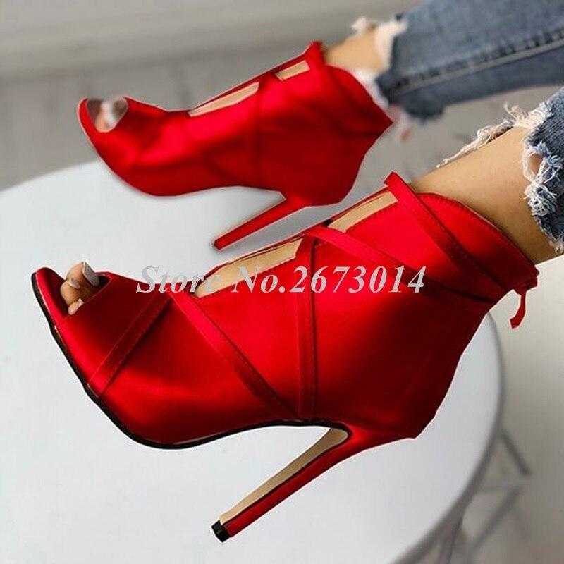 As Peep Picture Picture Rojo Toe Mujeres Banda Sandalias Nuevas Zapato Botas Partido La Boda Estrecha Alta De as Talón Cremallera Arranque Satén Verano wFIFqgH