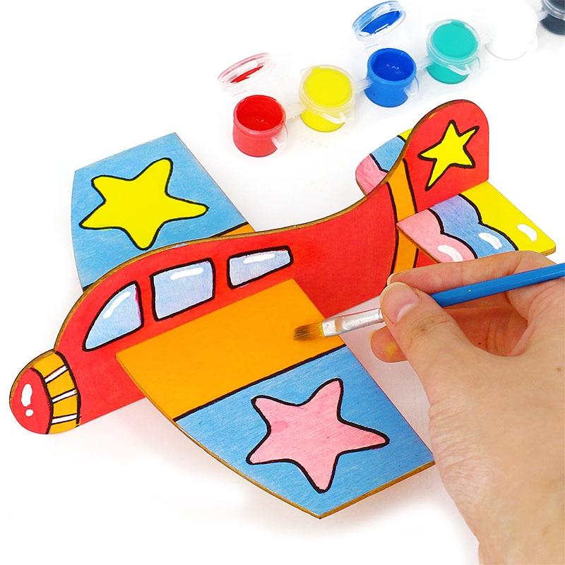 Wood Splicing Aircraft 3D Puzzle Aircraft Painting Graffiti Materials In Kindergarten Child Intelligence DIY Toy Billet Model