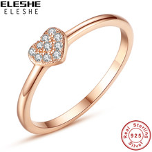 ELESHE Valentines Gift Rose Gold Finger Rings for Women Real 925 Sterling Silver Rings Crystal Cubic Zircon Heart Rings Wedding(China)