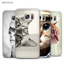 ФОТО curious cat sneaking up clear phone case cover for samsung galaxy note 2 3 4 5 7 s3 s4 s5 mini s6 s7 s8 edge plus